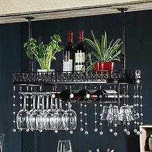 LC Im Europäischen Stil Kristall Weinregal Weinglas Rack Home Bar Supplies ( Farbe : Schwarz , größe : 80cm )