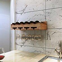 LC Weinregal Weinglas Halter Europäischen Massivholz Wandregal Wohnzimmer Küche ( Farbe : Vintage roasted color , größe : 50 cm )