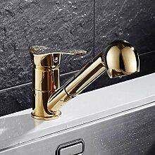 LCBLC Deck Mount Messing Golden Küchenarmaturen