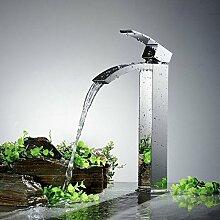 Lcoaung Alle Kupfer Zuspitzung Badezimmer, Waschbecken Mit Warmen Und Kalten Wasserfall, Einzigen Griff, Einloch Verchromt Wasserhahn