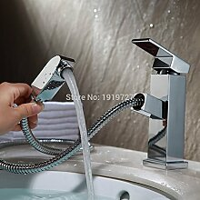 Lcoaung Bad/Küche Kupfer Waschtisch Armatur mit papierrahmens Spray Stick, Chrom polier