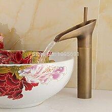 Lcoaung Hochwertige neue Stil Antik Kupfer Finish Wasserfall Waschbecken Waschbecken Wasserhahn Armatur aus Messing, Bronze, Gelb