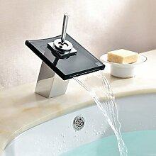 Lcoaung Zeitgenössische Wasserfall Waschbecken Armatur mit Glas, Auswurfkrümmer