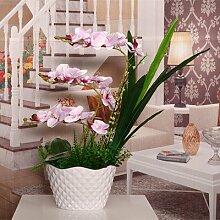 LCoran Künstliche Blumen Phalaenopsis Keramik Blumentopf Dekoration Violett Ideal für Esszimmer Wohnzimmer oder Büro-Deko