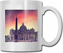 LCYYDECO Porzellan Kaffeebecher Kathedrale Rot