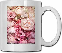 LCYYDECO Porzellan Kaffeebecher Pfingstrose Blume