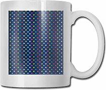 LCYYDECO Porzellan Kaffeebecher Sterne Bunt Blau