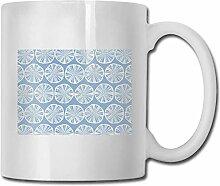 LCYYDECO Porzellan Kaffeebecher Zitronenblau