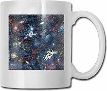 LCYYDECO Porzellan-Kaffeetasse Astronaut Satellite