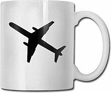 LCYYDECO Porzellan Kaffeetasse Flugzeug Schwarz