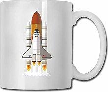 LCYYDECO Porzellan Kaffeetasse Raketenmuster