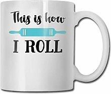 LCYYDECO Porzellan-Kaffeetasse So rolle ich