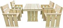 LD Gartenmöbel 5-TLG. Kiefernholz Holz Essgruppe