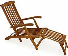 LD Holzliege Deckchair Sonnenliege Liegestuhl