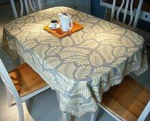 LD&P 100% Baumwolle Tischdecke Leinwand Druck Tischdecke Spitze Staubdicht / Antifouling Küche Esstisch Tischdecke Tischdecke,brown,100*140cm