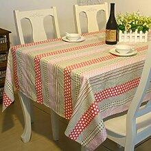 LD&P 100% Couchtisch aus Baumwolle, runder Tisch, quadratischer Tisch, rechteckige Tischdecke Multifunktions-Tisch im Freien Picknick Tischdecke,Beige,90*140cm