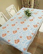 LD&P Aktive Druck Baumwolle Tischdecke Spitze Staubdicht Tischdecke für Küche Pub Tischplatte Dekoration Leinwand Tischdecke,blue,140*250cm