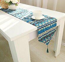 LD&P Baumwoll Leinen Tischfahne Flachs dreifarbige doppelseitige Tischdecke Tischläufer Dreieck mit Quasten,blue,30*220cm