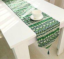 LD&P Baumwoll Leinen Tischfahne Flachs dreifarbige doppelseitige Tischdecke Tischläufer Dreieck mit Quasten,green,32*180cm