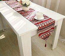 LD&P Baumwoll Leinen Tischfahne Flachs dreifarbige doppelseitige Tischdecke Tischläufer Dreieck mit Quasten,red,30*200cm