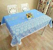 LD&P Baumwolle bedruckt Tischdecke Leinwand Spitze Couchtisch, runder Tisch, rechteckiger Tisch Staubdichte Heimtextilien Tischdecke,blue,120*170cm