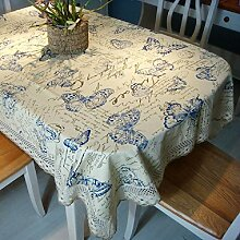 LD&P Baumwolle bedruckte Leinwand Tischdecke Spitze Staubdicht Tischdecke für Küche Dinning Pub Tischdecke Dekoration Tischdecke,A,140*180cm