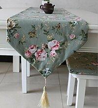 LD&P Baumwolle Leinwand Druck Pastoral Blume Tischläufer Restaurant Wohnzimmer Schlafzimmer Dekoration Tisch Läufer Tuch Maschine waschbar,A,32*160cm