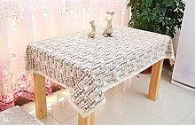 LD&P Baumwolle rechteckige Tischdecke Couchtisch, runder Tisch, quadratischer Tisch, rechteckiger Tisch, Western Tisch Staub Tisch Tuch Größe,W,130*130cm