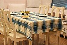 LD&P Baumwolle Tischdecken Europäische TV-Schrank Tischdecke staubdicht Home Decoration Outdoor Picknick Tischdecken,blue,90*90cm