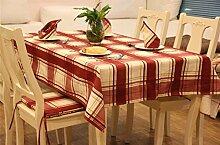 LD&P Baumwolle Tischdecken Europäische TV-Schrank Tischdecke staubdicht Home Decoration Outdoor Picknick Tischdecken,red,140*220cm