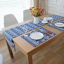 LD&P Blaue Leinen Tischläufer für Bauernhaus Dekor home Party Tischdekoration,blue,30*180cm