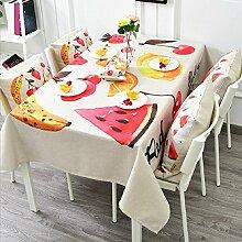 LD&P Bunte Fruchtmuster verdickte Leinen Tischdecke Restaurant quadratische Tischdecke Staubdicht/Antifouling Heimtextilien Tischdecke,A,140*140cm