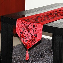LD&P Europäisch-style silbergrau modern einfach kaffeematten TV-Schrank Deckel Tuch quadratisch Tischdecke Hausdekoration Tischläufer Teetisch Bett Läufer,red,33*160cm