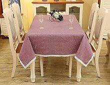 LD&P Europäische Baumwoll-Leinen Tischdecke rechteckiger Couchtisch, runder Tisch überdachter Tuch Mehrzweck-Party-Picknicktisch Tuch Multi-Größe,C,120*170cm