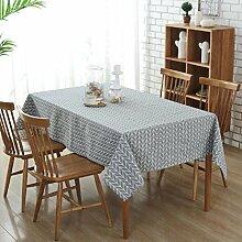 LD&P Europäische einfache gestreifte Leinwand Tischdecke Kunst frische rechteckige Tisch Tisch Tuch Couchtisch Tuch Schreibtisch Tischdecke, multifunktionale rechteckige Tischdecke,A,130*180cm