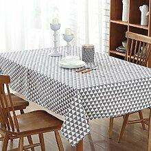 LD&P Europäische einfache gestreifte Leinwand Tischdecke Kunst frische rechteckige Tisch Tisch Tuch Couchtisch Tuch Schreibtisch Tischdecke, multifunktionale rechteckige Tischdecke,B,140*160cm