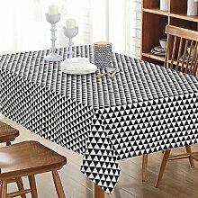 LD&P Europäische einfache gestreifte Leinwand Tischdecke Kunst frische rechteckige Tisch Tisch Tuch Couchtisch Tuch Schreibtisch Tischdecke, multifunktionale rechteckige Tischdecke,E,140*220cm