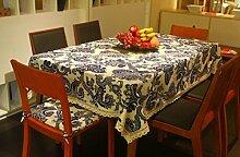 LD&P Europäische Hochwertige Flachs Tischdecke Kaffee Tuch Spitze Staubdicht Tischdecke für Küche Essen Pub Tischplatte Dekoration Tischdecke,blue,90*140cm