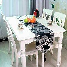 LD&P Europäische klassische Drucktabelle Fahne Bettfahne TV-Schrank Couchtisch Tischläufer Polyesterfaser Stoff Party Tischläufer,A,32*200cm