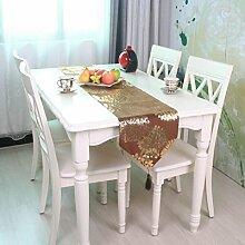LD&P Europäische klassische Drucktabelle Fahne Bettfahne TV-Schrank Couchtisch Tischläufer Polyesterfaser Stoff Party Tischläufer,C,32*180cm