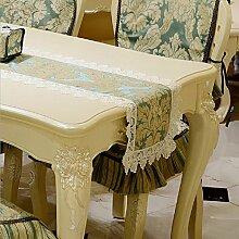 LD&P Europäische Spitze Tisch, Couchtisch, TV-Schrank Tischläufer Polyester Faser Europäische Pflanze Blume Hochzeitsfeier Geschenk Dekorationen,blue,35*180cm