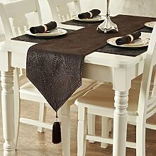 LD&P Europäischen Luxus klassischen Tischläufer Baumwoll-Tisch Esstisch, TV-Schrank, Couchtisch Tischdecke Dekoration Schlafzimmer Hotel Bett Dekoration Läufer,Coffee,35*183cm