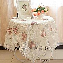 LD&P Europäischen Stil Garten Stil Luxus Stickerei Tischdecke, multifunktionale Tischdecke Couchtisch Esstisch Tisch Tischdecke, Küche Esstisch Dekoration,A,110*160cm