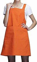 LD&P Für Männer und Frauen Schürzen, Bettwäsche Anti-Öl-Verschmutzung, zwei Taschen, Grillkochküchenschürze,Orange,78cm*60cm