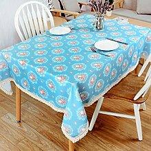 LD&P Gedruckte rechteckige Polyesterfaser Tischdecke Tisch Tisch Lebensdekoration Tischplatte Abdeckung Tischdecke Multi - Größe,blue,90*140cm