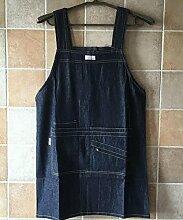 LD&P Geeignet für Männer und Frauen Denim Schürze, verschiedene Tasche, Multitasche , solide und praktisch verschleiß Schürzen,A,76cm*62cm