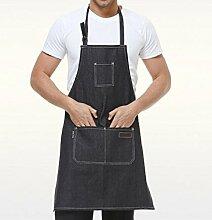 LD&P Geeignet für Männer und Frauen Schürzen, langlebig, drei Taschen, verstellbare Schürzen, Küchenschürzen,blue,78cm*62cm