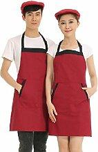 LD&P Geeignet für Männer und Frauen verstellbarer Halfter-Stil Schürze, zwei Taschen, Schürzen Haushaltsküche,red,78cm*60cm