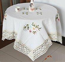 LD&P Gestickte Spitze Tischdecke Couchtisch, runder Tisch, quadratischer Tisch, rechteckiger Tisch, Tischdekoration Tischdecke Abdeckung,white,130*130cm