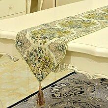 LD&P High-End-europäischen Luxus klassischen Tischläufer Schlafzimmer Bett Läufer Couchtisch TV-Schrank Stickerei Tischläufer,green,28*160cm